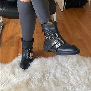 ZARA BLACK BUCKLE BOOTS
